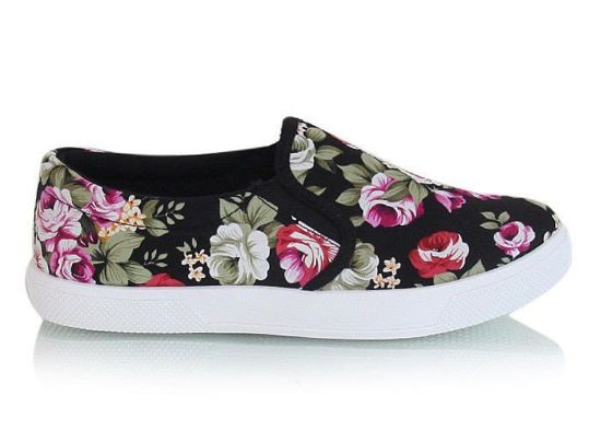 Trampki slip on Flower black /G1-2 X11 s2435/