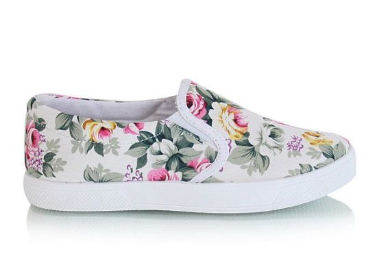 Trampki slip on Flower white /G1-2 X11 s2435/