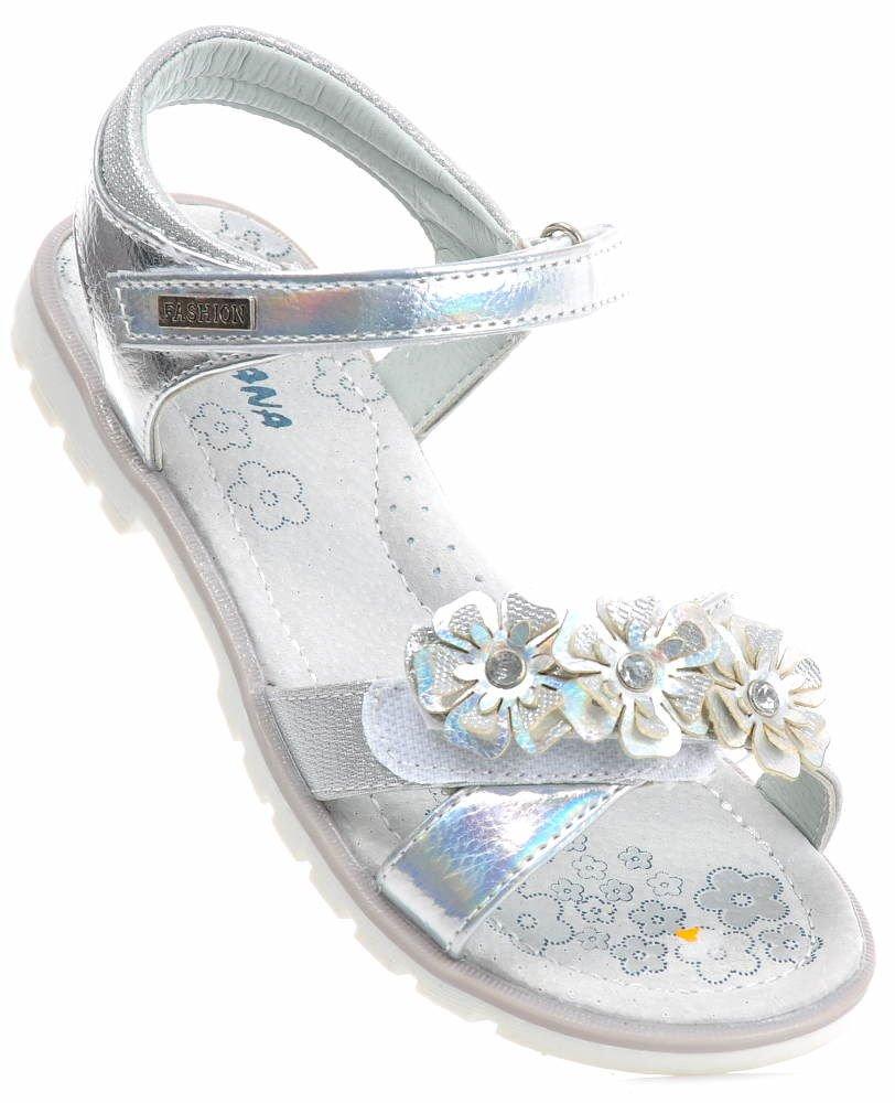 sandały srebrne dla dziewczynki