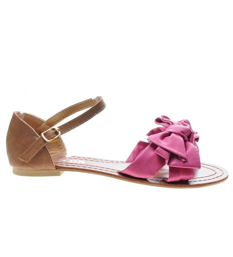 Płaskie sandały damskie z kokardą Fuksja F5 2 4748 S076
