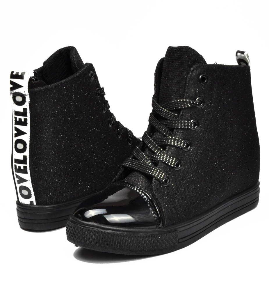 Czarne trampki sneakersy na średnim koturnie D1 2 2884 S188