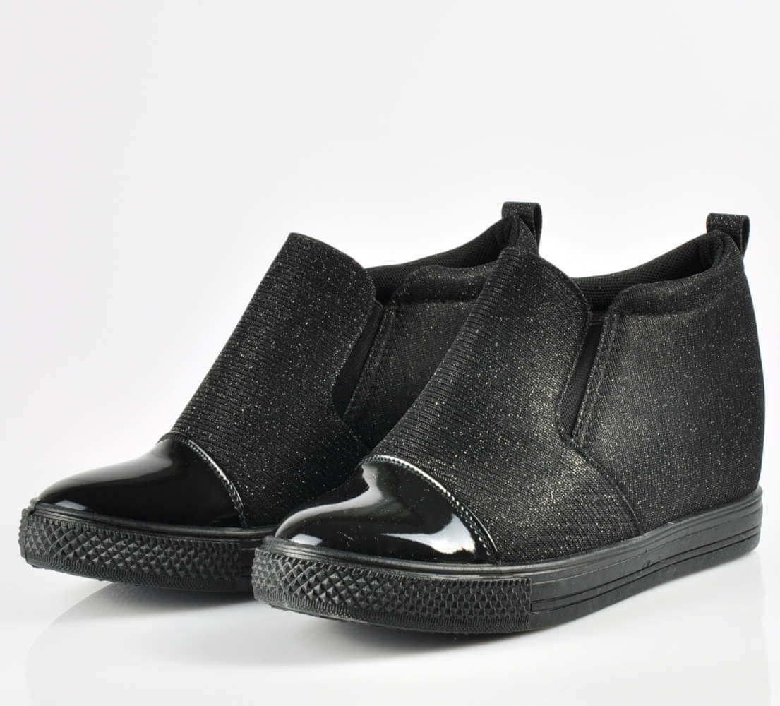 Wsuwane trampki sneakersy na koturnie CZARNE G1 1 3648 S195