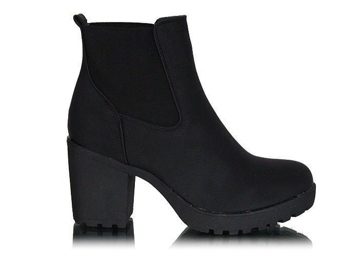 75597c5efac40 Czarne botki z gumkami na obcasie /E5-2 W149 sel/ | Pantofelek24.pl