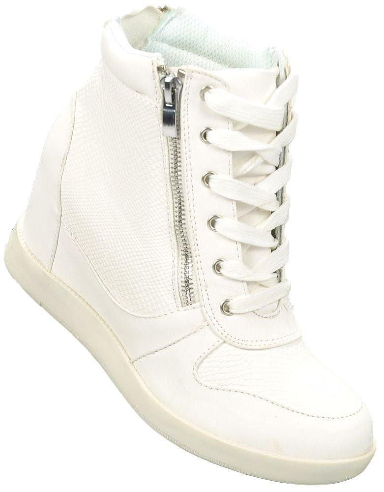 41be299ab0e1f Klasyczne trampki sneakersy na koturnie BIAŁE /E10-3 Ae156 t227/ ...