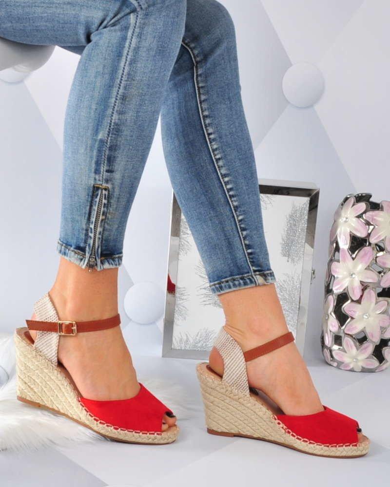 Czerwone sandały espadryle na koturnie i platformie A2 3 3119 S494