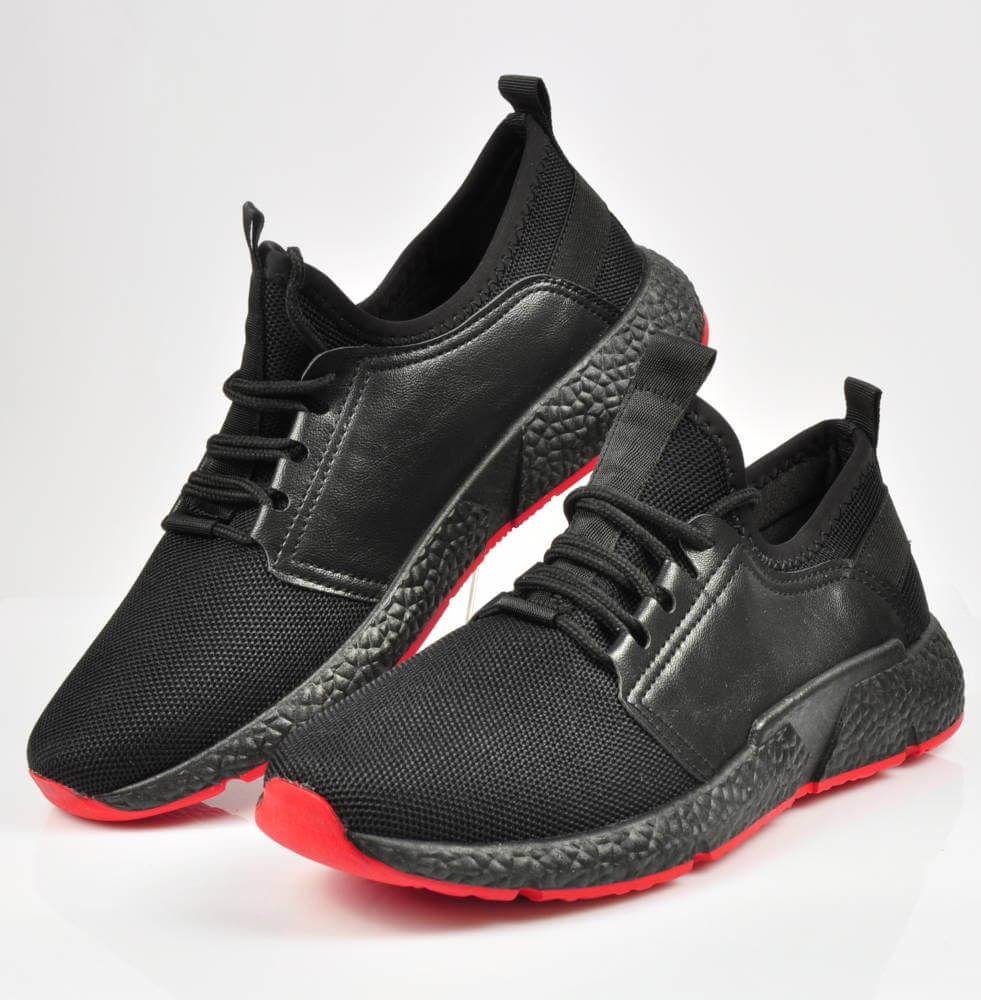 Sportowe buty męskie z czerwoną podeszwą CZARNE xxx 3637 S214
