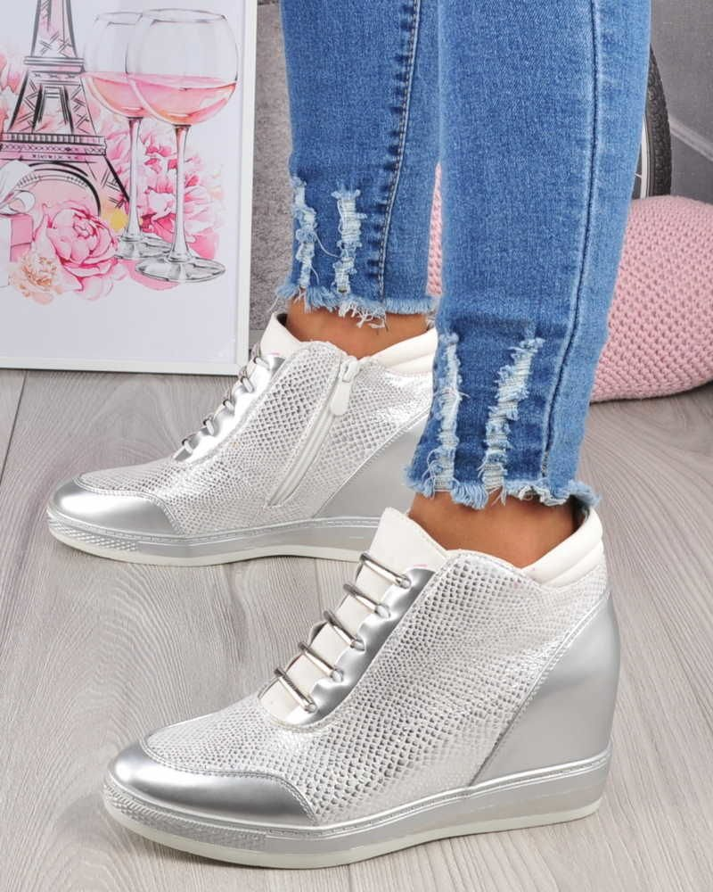 0f5b2e78c8000 Srebrne trampki sneakersy na koturnie /E10-3 2808 S216/ ...
