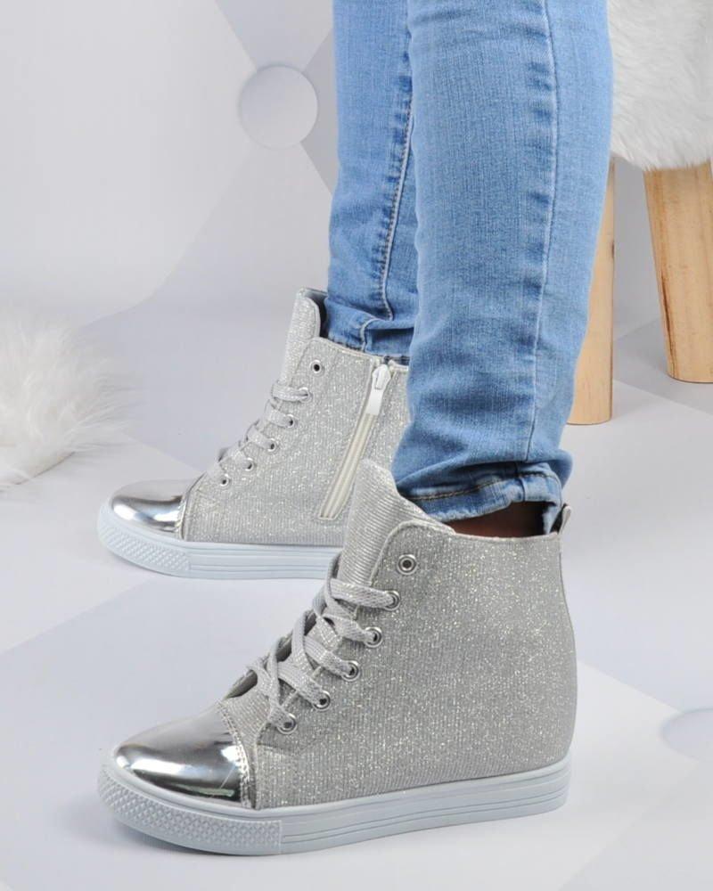 5b700e6b68f49 ... Srebrne trampki sneakersy na średnim koturnie /D1-2 2884 S188/