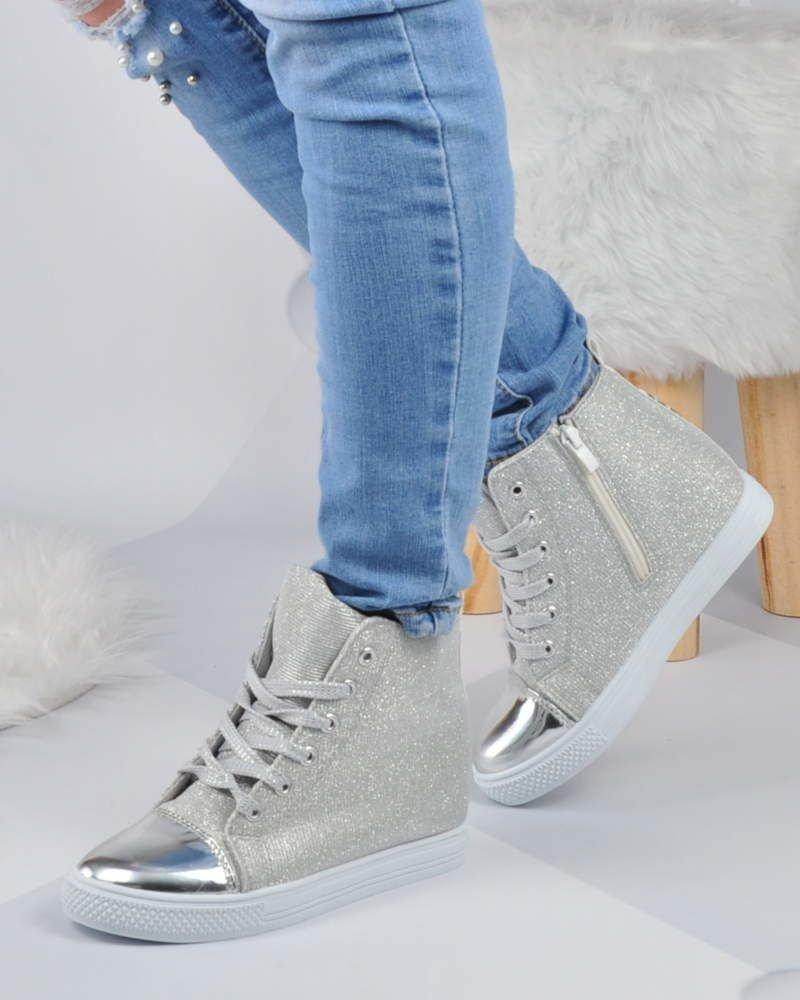 a0fc08c666c52 ... Srebrne trampki sneakersy na średnim koturnie /D1-2 2884 S188/ ...