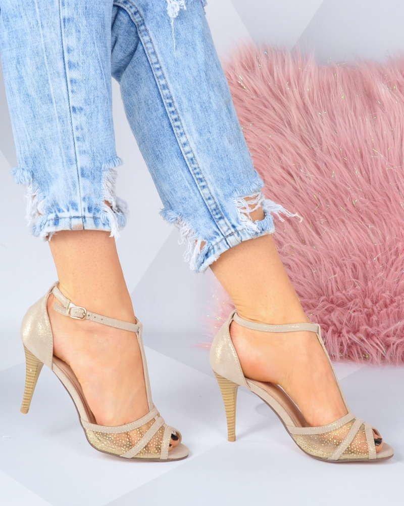 88ed9015 Eleganckie beżowe sandały na szpilce /F1-2 3253 S192/ | Pantofelek24.pl