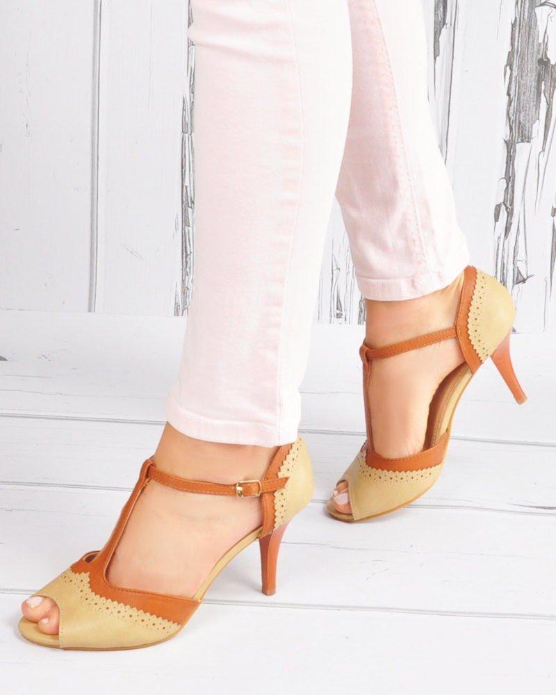 c4eef2a11fe1ec ... Eleganckie sandały na szpilce w stylu vintage Beige /E2-3 3635 S192/ ...