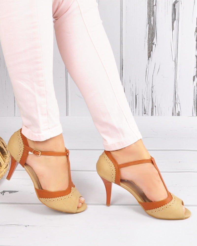 d3d854f5b279f9 Eleganckie sandały na szpilce w stylu vintage Beige /E2-3 3635 S192/ ...