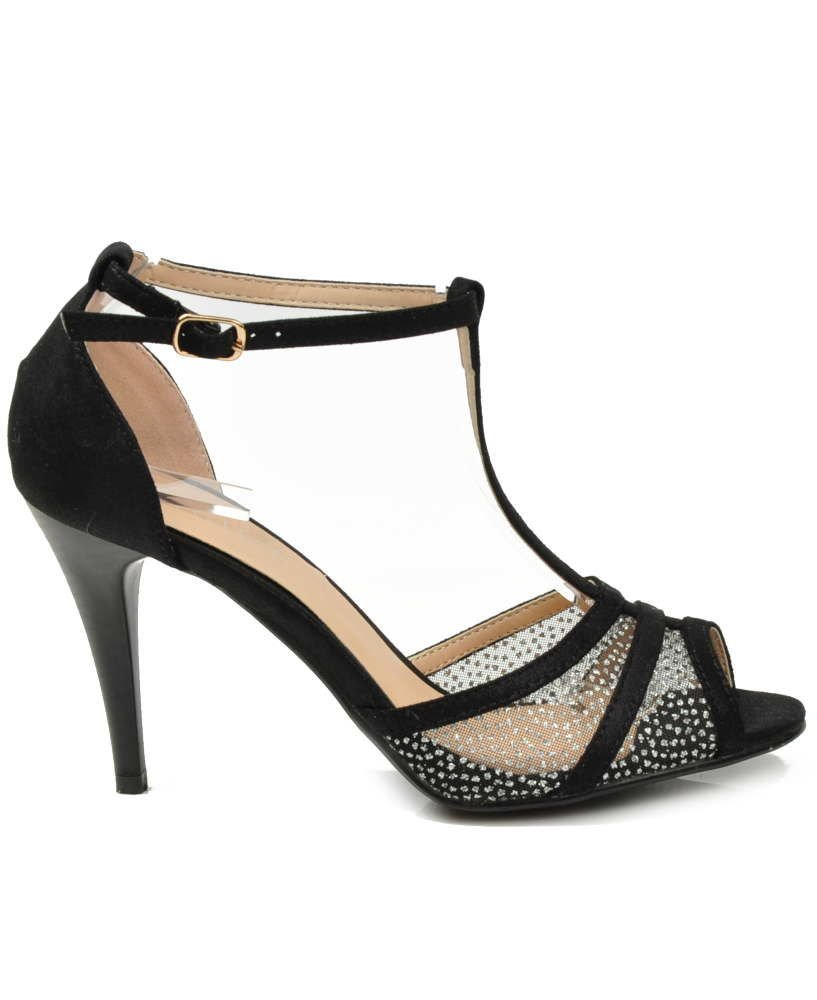 3337a08e Eleganckie czarne sandały na szpilce /F1-2 3253 S192/ | Pantofelek24.pl