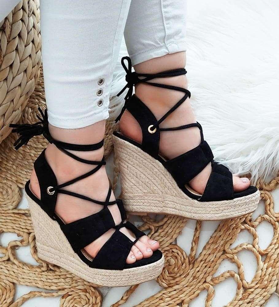 Sandały espadryle na wysokim koturnie Czarne