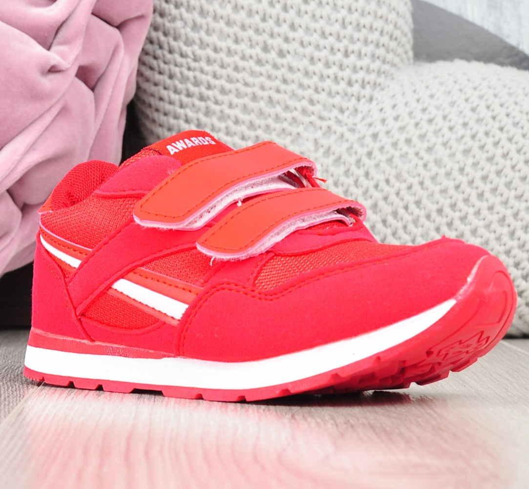 Dziecięce buty sportowe na rzepy CZERWONE D7 1 2364 S195
