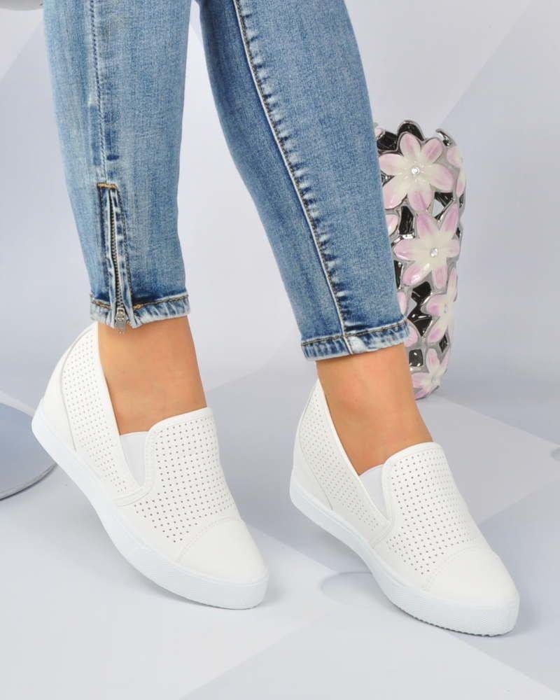 Ażurowe sneakersy na średnim koturnie BIAŁE xx 2984 S196