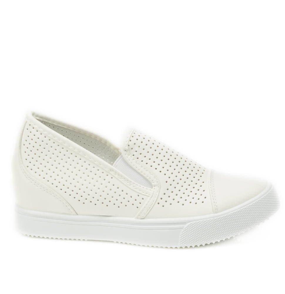 797583b6cd6c3 ... Ażurowe sneakersy na średnim koturnie BIAŁE /G1-3 2984 S196/ ...