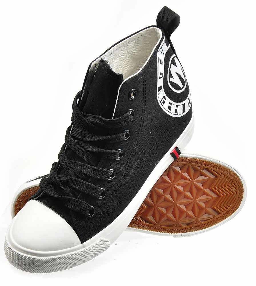 5ce1b8ac3d5f3 Trampki sneakersy na niskim koturnie CZARNE /E10-2 2277 S195/ ...
