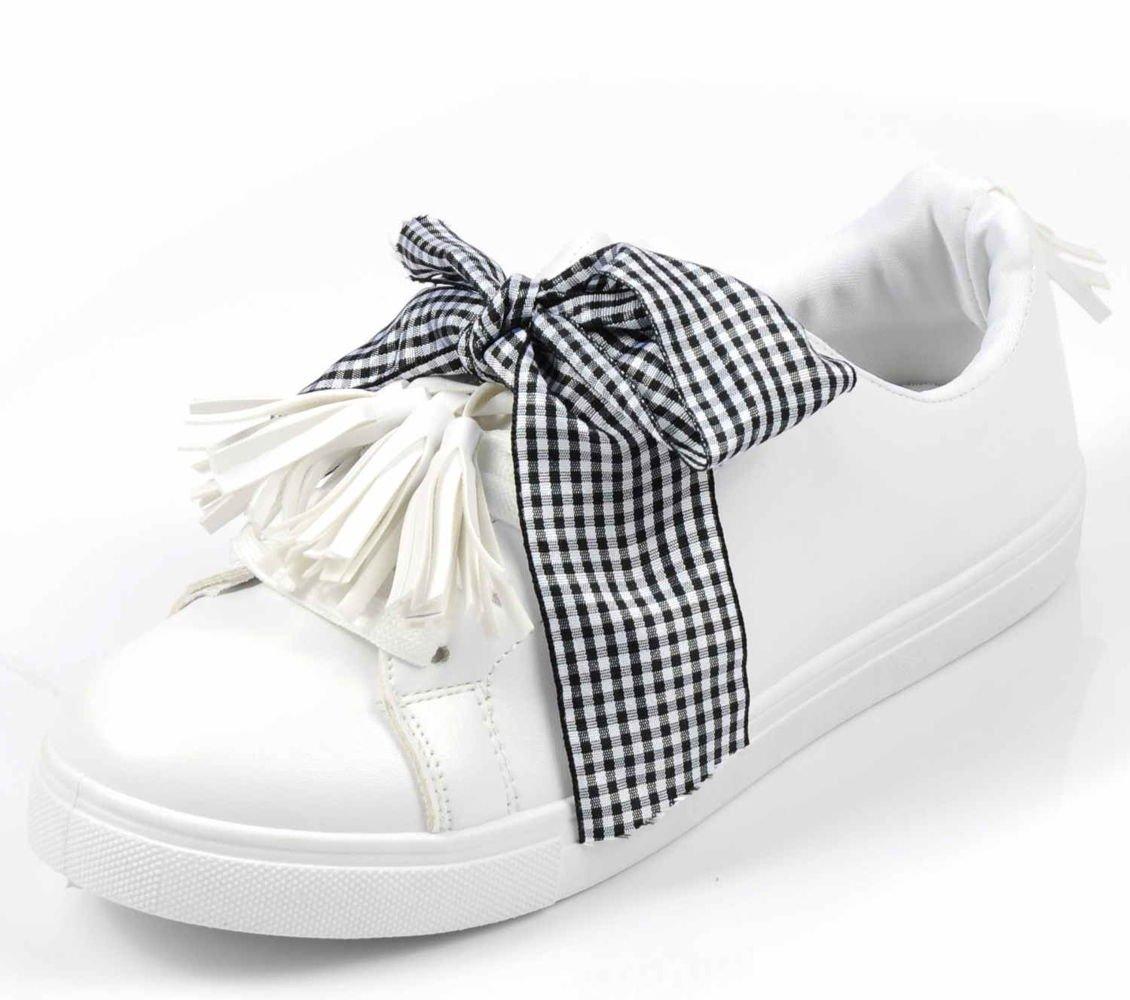 Białe trampki damskie z kokardą F9 1 Ae685 S392
