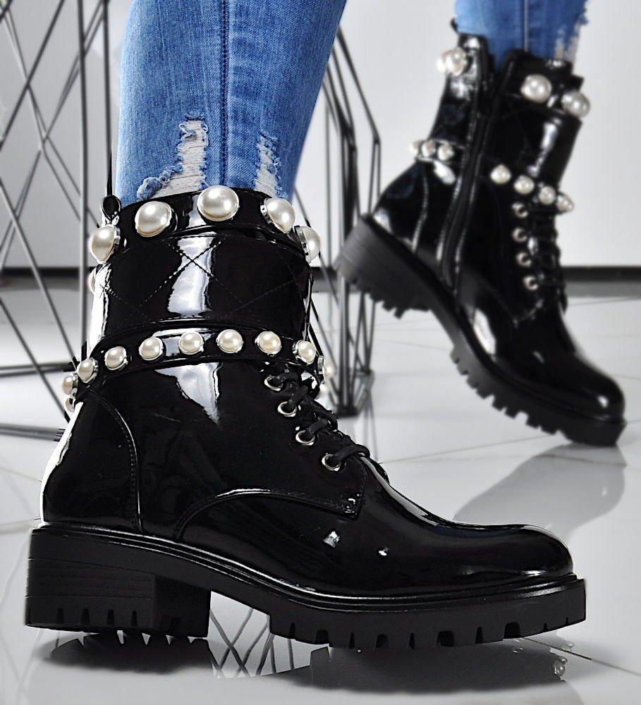 Damskie botki czarne z perełkami