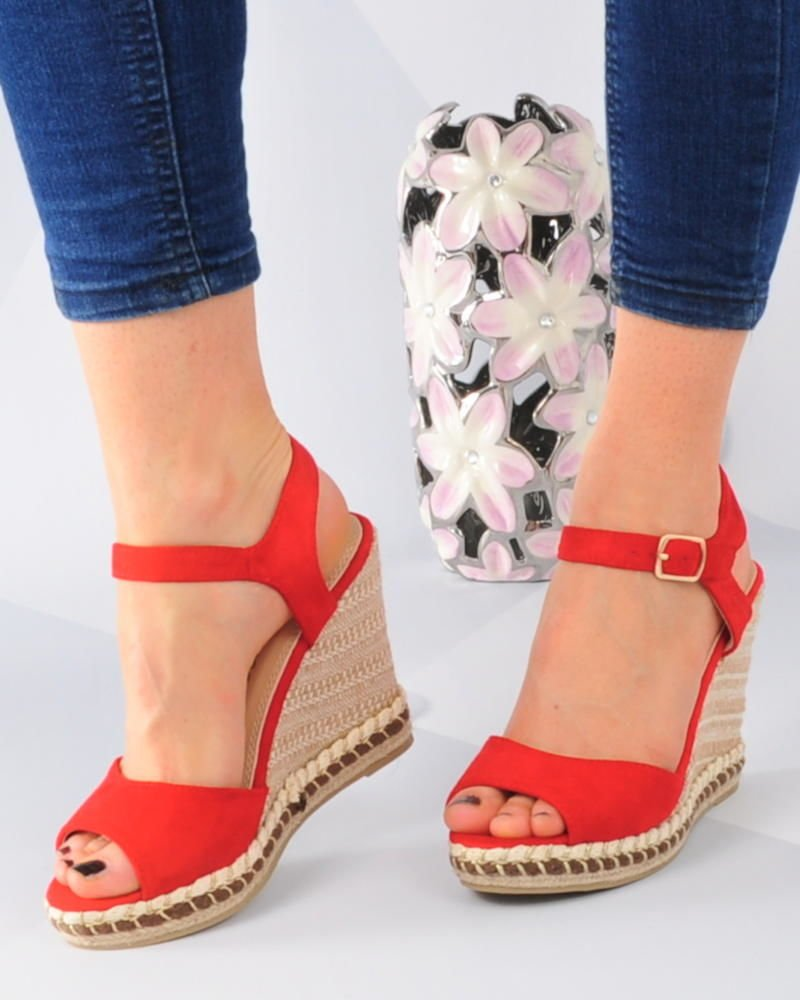 Czerwone sandały espadryle na koturnie i platformie xxx 3079 S513