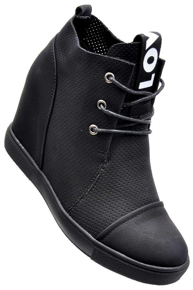 1ceec94338ceb Czarne trampki sneakersy na koturnie z ażurową cholewką /D7-2 2308 S414/ ...