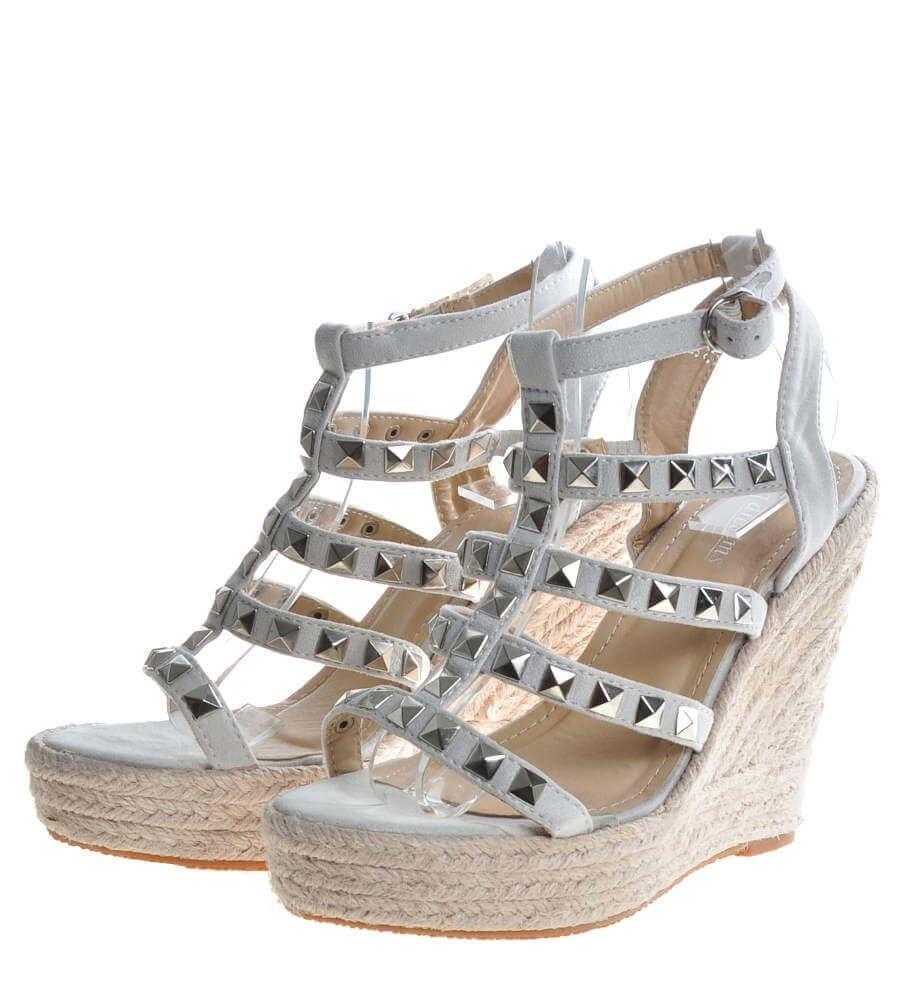Srebrne sandały damskie na koturnie i platformie G9 3 4485 S270