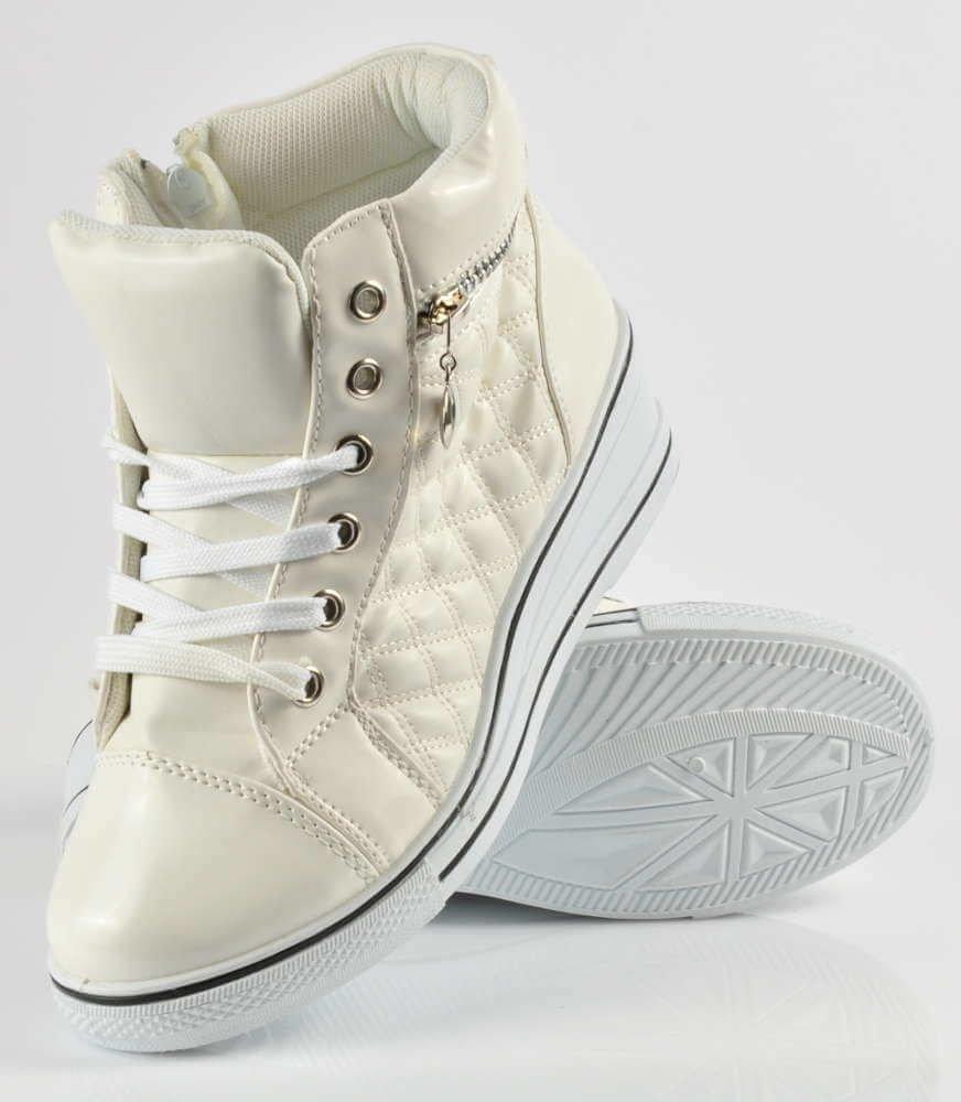 Pikowane sneakersy na średnim obcasie BIAŁE G2 2 3674 S2