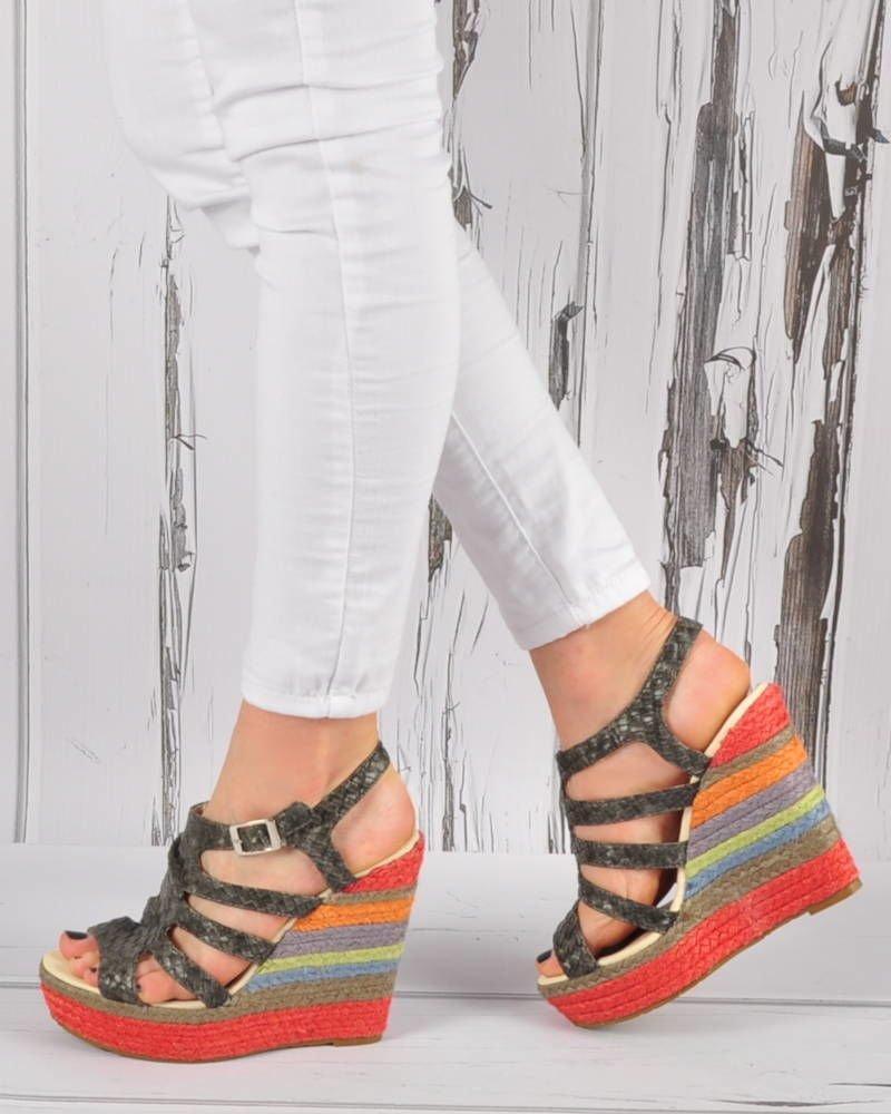 c5afeff6 Wysokie espadryle- sandały na koturnie SZARE /D5-3 3444 S192/ ...