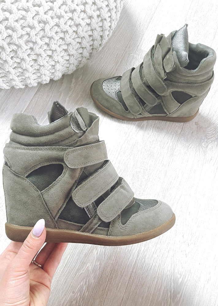 Trampki sneakersy na koturnie KHAKI G10 3 1300 S323