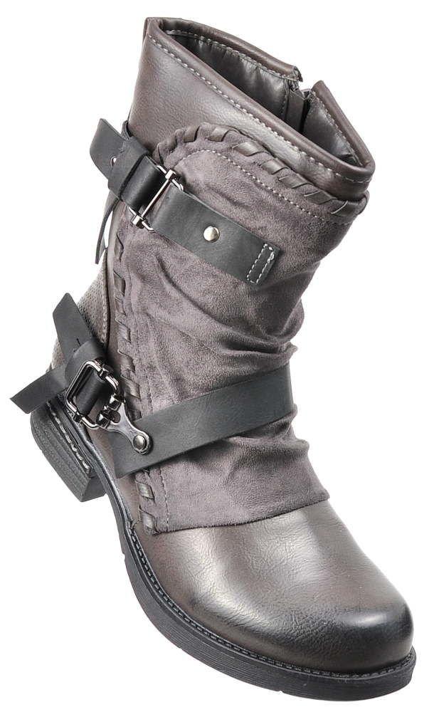 de845603c7703 Modne damskie botki Biker Boots Szare /F7-2 2562 s219/   Pantofelek24.pl