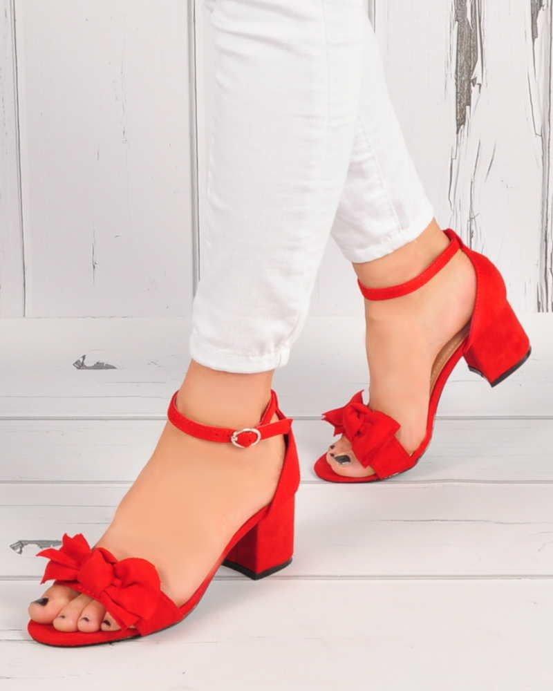 Czerwone sandały damskie na słupku