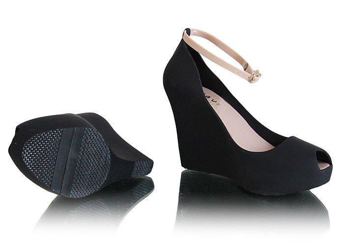 e140c5e2 Czarne meliski na koturnie peep toe /A4-1 Y68 Tx326/ | Pantofelek24.pl