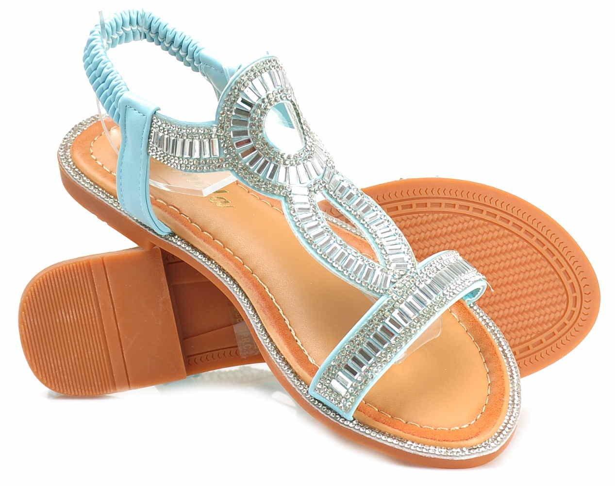 Biżuteryjne sandały damskie na płaskim obcasie BŁĘKITNE E9