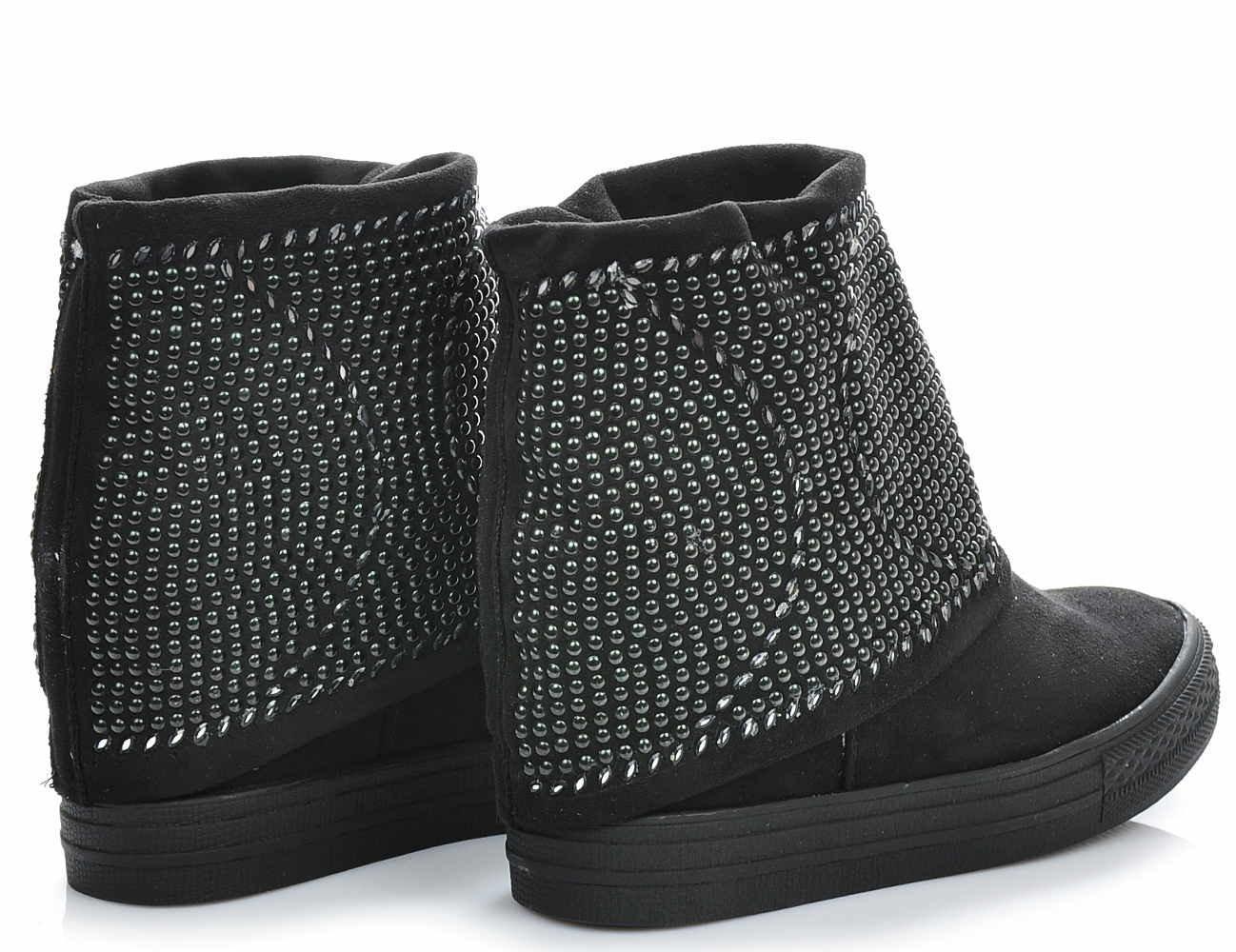 Pantofelek24.pl , Czarne sneakersy na koturnie z cekinami