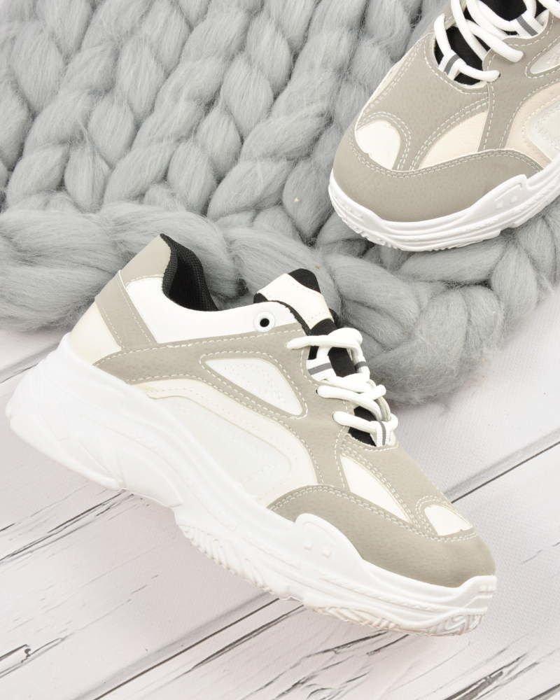 Sportowe buty damskie na masywnej podeszwie WHITE E1 3 3638