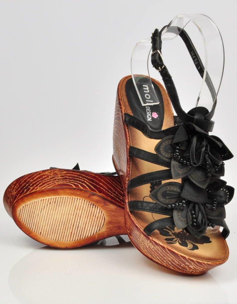 0a7c9572 ... Czarne sandały na koturnie i platformie /E5-3 3413 S191/