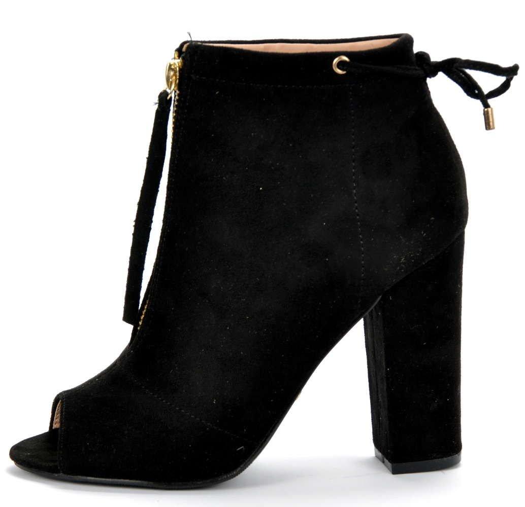 Czarne botki na szpilce OPEN TOE➤ Sklep z butami