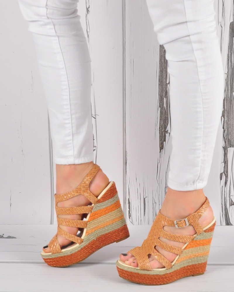 626e9713 Wysokie espadryle- sandały na koturnie CAMEL /D5-3 3444 S192/ ...