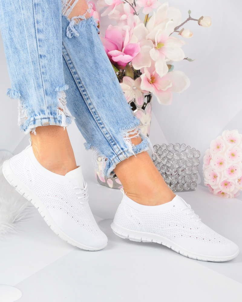 Elastyczne damskie buty sportowe BIAŁE F2 3 3285 S219