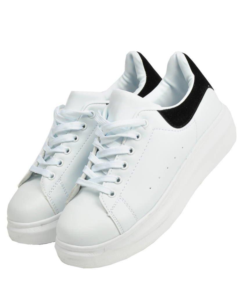 Sportowe buty damskie na wysokiej podeszwie BIAŁE B1 2 4259 S375