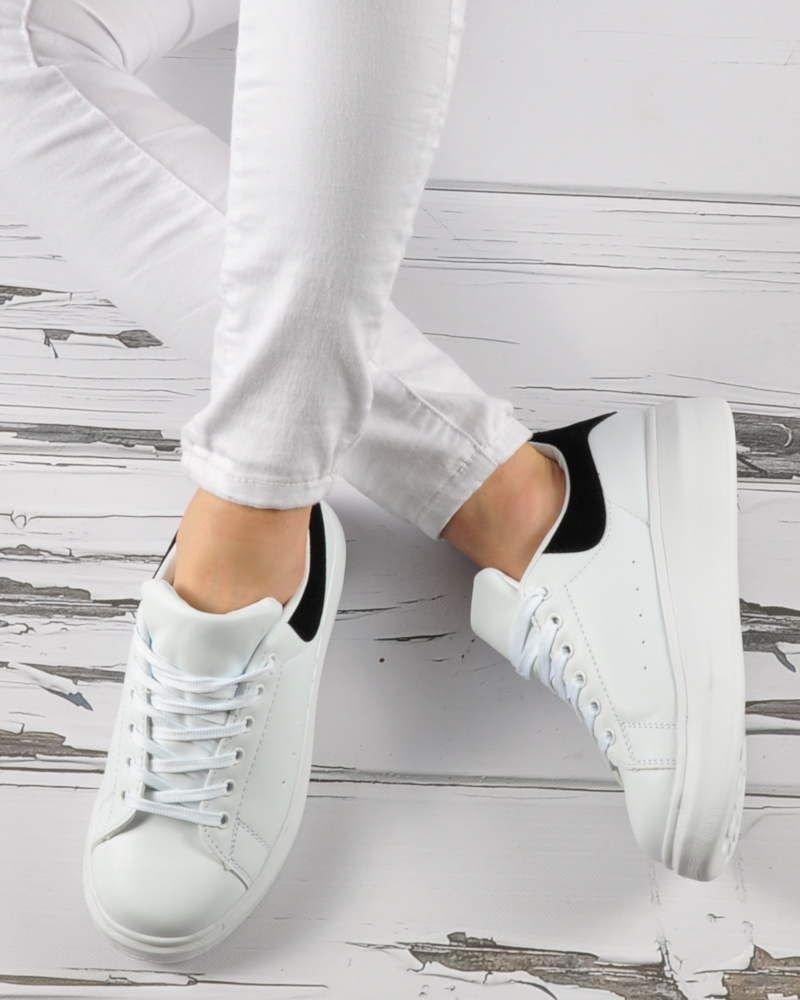Sportowe buty damskie na platformie BIAŁE D7 1 3395 S3