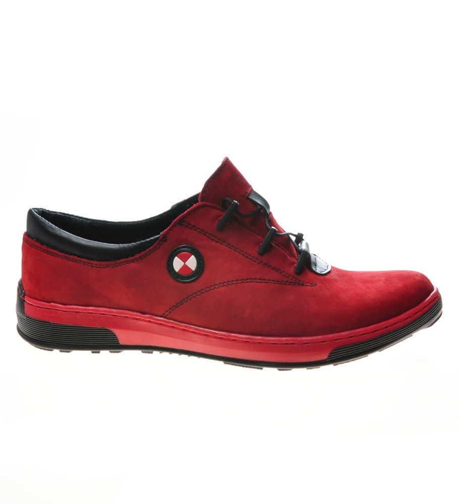 Sportowe Buty Meskie Z Naturalnej Skory Zamszowej Czerwone D5 3 651 Kol1030 S110 Pantofelek24 Pl