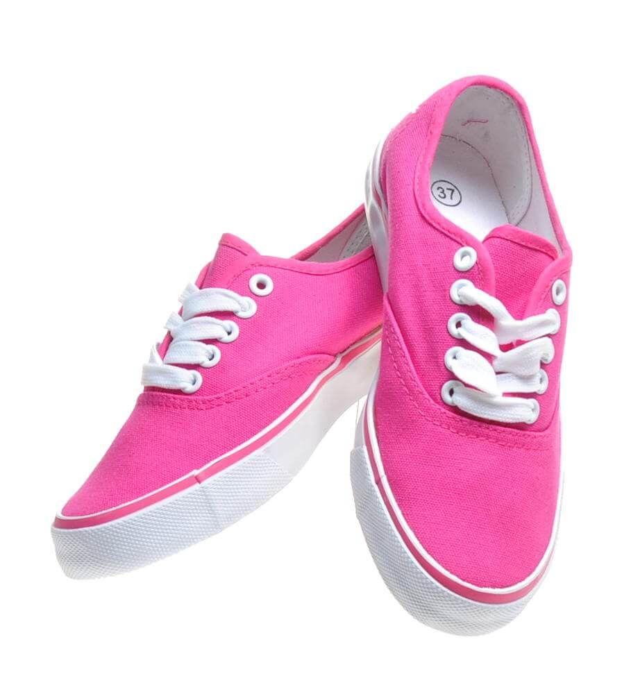 Różowe tenisówki damskie z wiązaniami G5 2 4539 S076