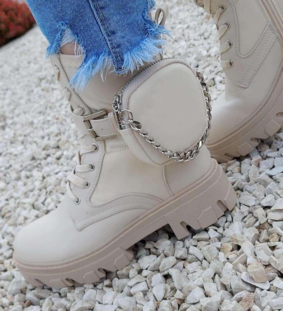 Modne trapery workery buty damskie Beżowe