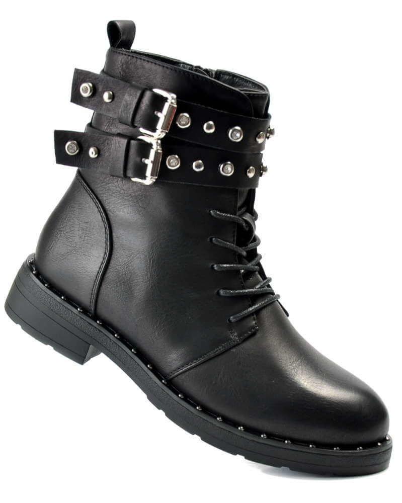 Workery z klamrami czarne buty damskie G1 3 4183 S477