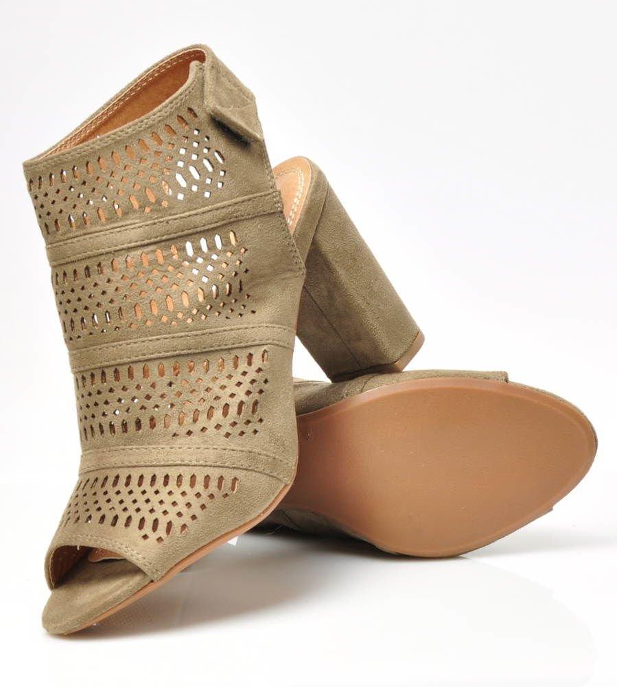 157b791cb5db1 ... Ażurowe sandały damskie na słupku Oliwkowe /E1-2 3195 S316/ ...