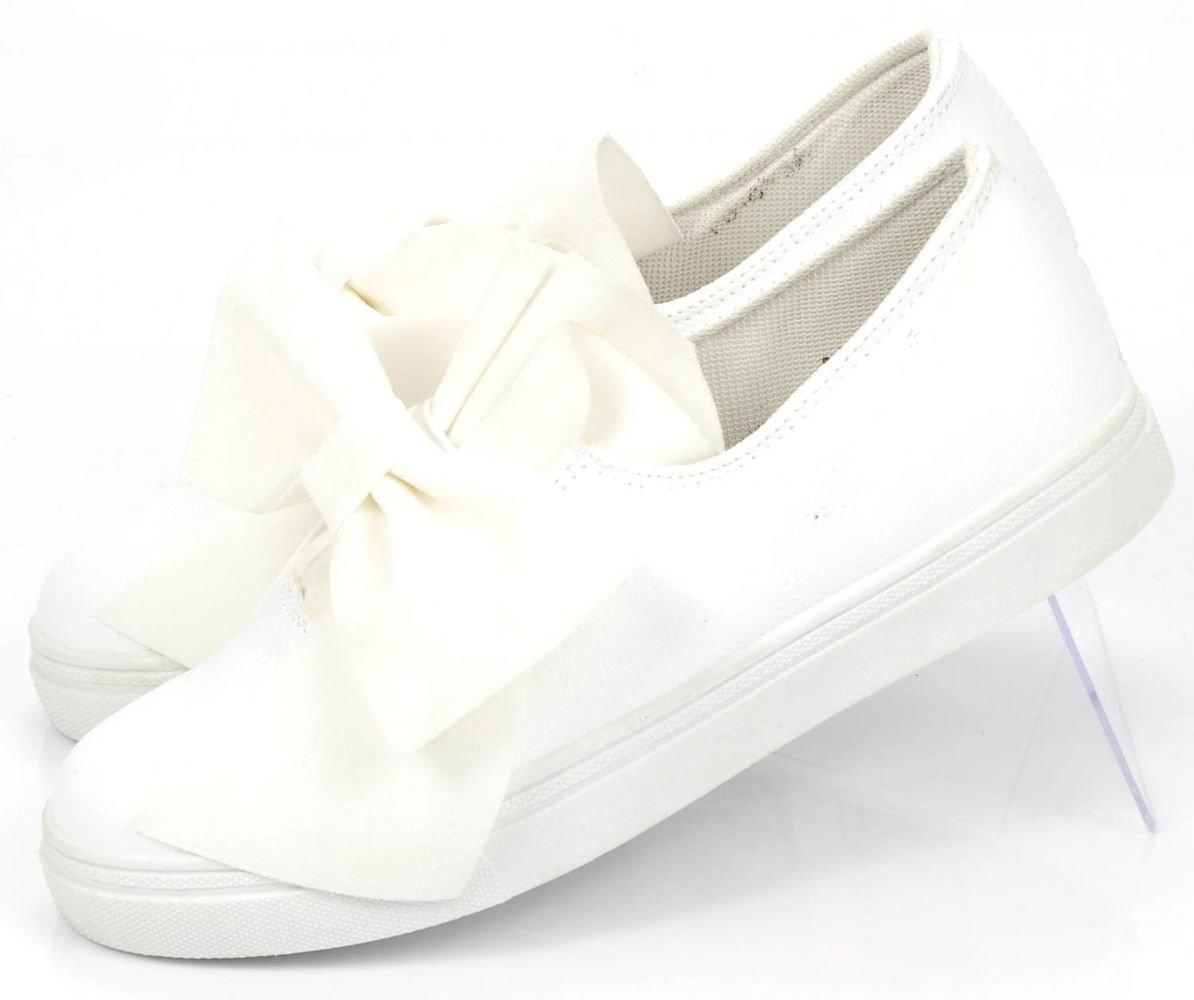 Białe trampki z kokardą F9 2 Ae746 S132