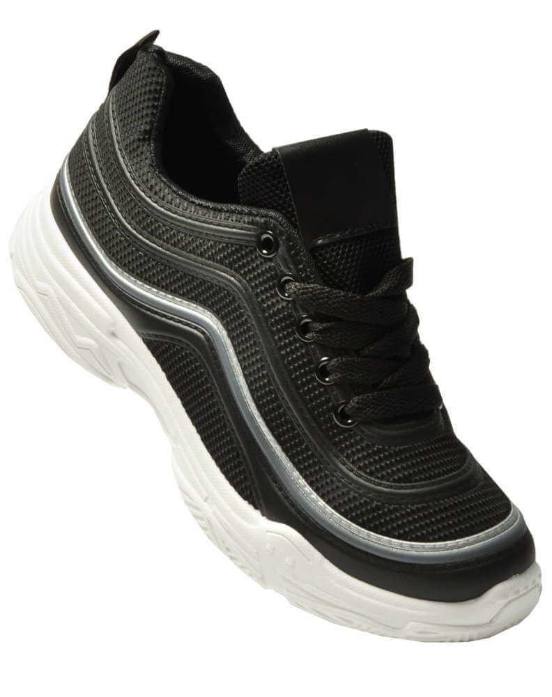 Wiązane damskie buty sportowe CZARNE A7 2 3707 S286