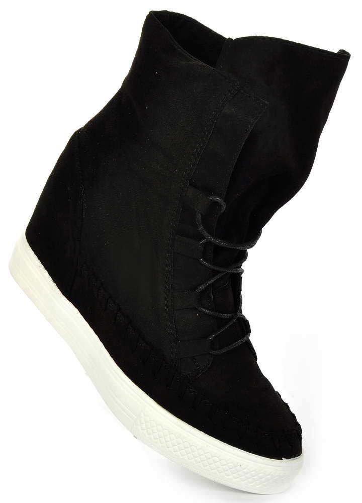 033f4cb33c015 Czarne Sneakersy Na Trampki Koturnie➤sklep Online pl Pantofelek24 rwqr1CP5